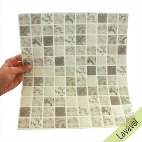 Placa de Pastilha Adesiva Resinada Antique Cinza - 28,5cm x 31cm