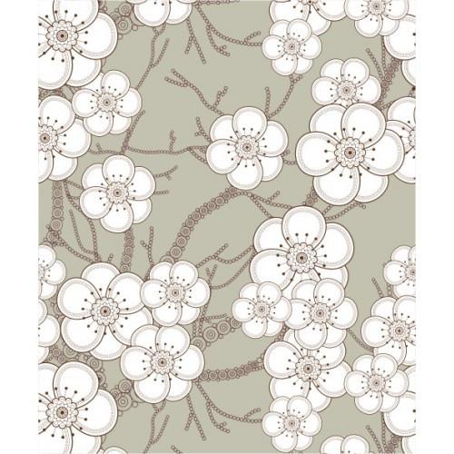 Papel de Parede Floral Blossom Cáqui