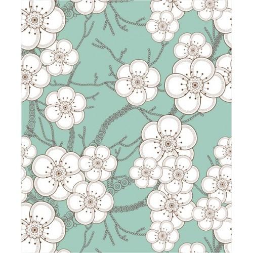 Papel de Parede Floral Blossom Turquesa