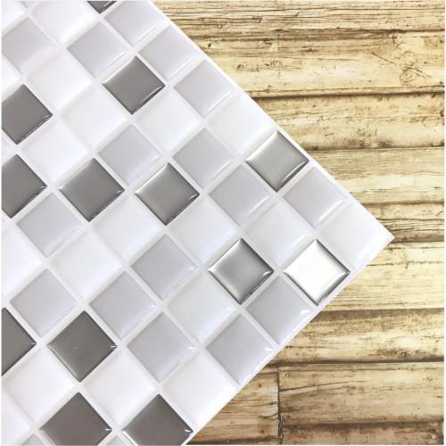 Placa de Pastilha Adesiva Resinada Branca, Cinza e Prata - 28,5cm x 31cm