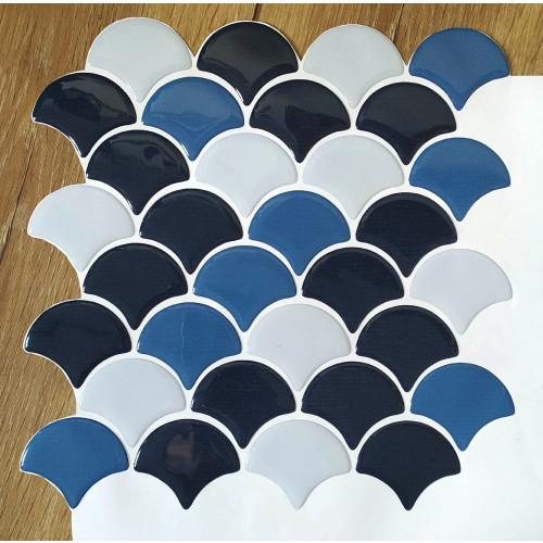 Placa de Pastilha Adesiva Resinada Escama Azul escuro, azul medio e cinza Rejunte Branco - 28,5cm x 28,5cm