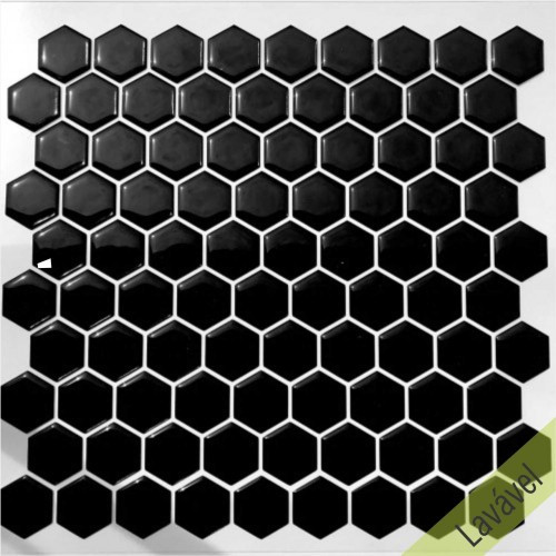 Placa de Pastilha Adesiva Resinada Hexagonal Mini Black Rejunte Branco  - 24,5cm x 29cm