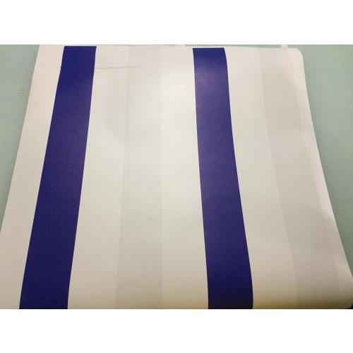 SALDÃO 4 Rolos na medida de 50cm x 150cm - Modelo Listras Branco e Azul- Fosco CAIXA L4003