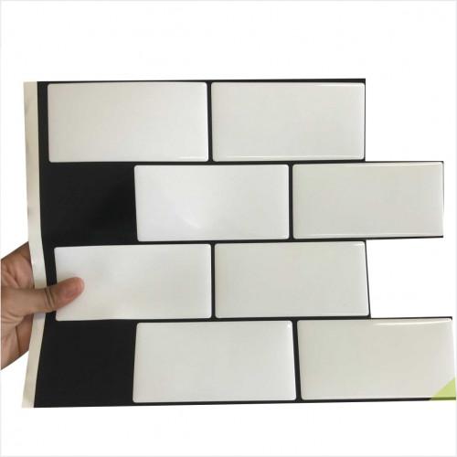 Placa de Pastilha Adesiva Resinada Metrô White Rejunte Preto  - 26cm x 32,5cm