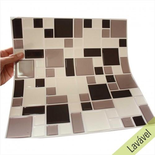 Placa de Pastilha Adesiva Resinada Mosaico Cinza, Preto e Branco - 28,5cm x 31cm