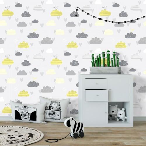 Papel de Parede Infantil  Nuvem Amarelo com Cinza