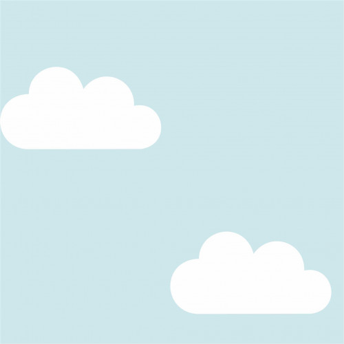 SALDÃO 4 Rolos na medida de 50cm x 250cm - Modelo Infantil Nuvens Fundo Azul - Fosco CAIXA L4001