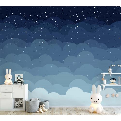 Painel Céu Azul em uma Noite Estrelada Fundo Branco