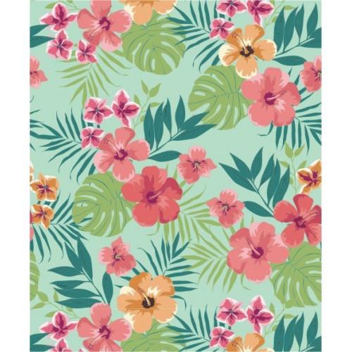 Papel de Parede Floral Honolulu Turquesa