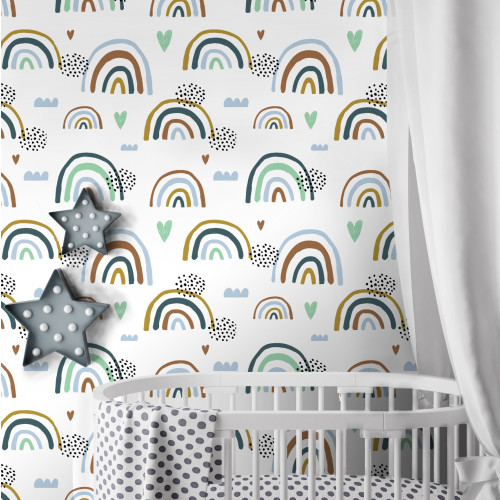 Papel de Parede Infantil Arco-íris Azul Fundo Branco