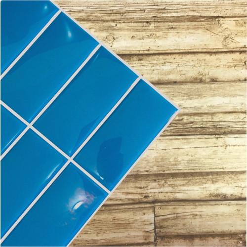 Placa de Pastilha Adesiva Resinada Linear Azul Pacífico