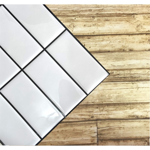 Placa de Pastilha Adesiva Resinada Linear Branco Rejunte Preto