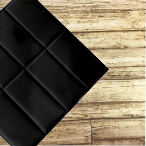 Placa de Pastilha Adesiva Resinada Linear Preto Rejunte Preto