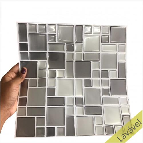 Placa de Pastilha Adesiva Resinada Mosaico Prata - 28,5cm x 31cm