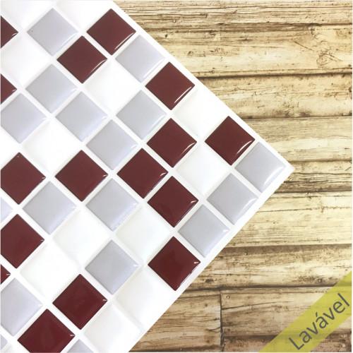 Placa de Pastilha Adesiva Resinada Branca, Cinza e Bordô - 28,5cm x 31cm