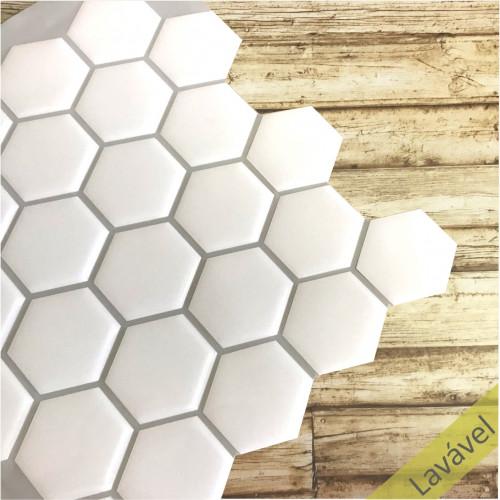 Placa de Pastilha Adesiva Resinada Hexagonal Branco Rejunte Cinza - 29cm x 29cm
