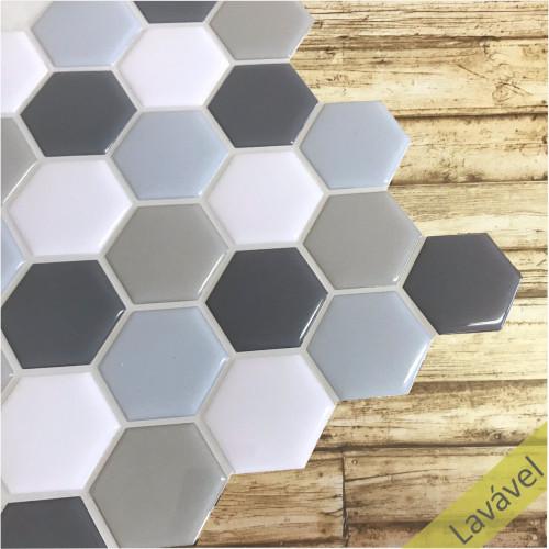 Placa de Pastilha Adesiva Resinada Hexagonal Fendi Rejunte Cinza 26,5cm x 33cm