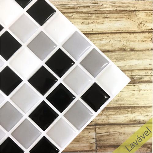 Placa de Pastilha Adesiva Resinada Cinza, Preta e Branca - 28,5cm x 31cm
