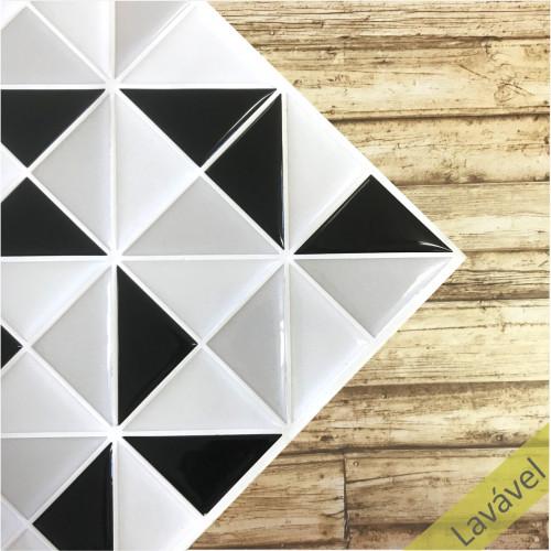 Placa de Pastilha Adesiva Resinada Triângulo Preto, e Cinza - 28,5cm x 28,5cm