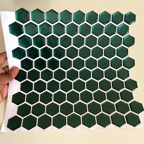 Placa de Pastilha Adesiva Resinada Hexagonal Mini Esmeralda metalizada -  28,5cm x 27cm