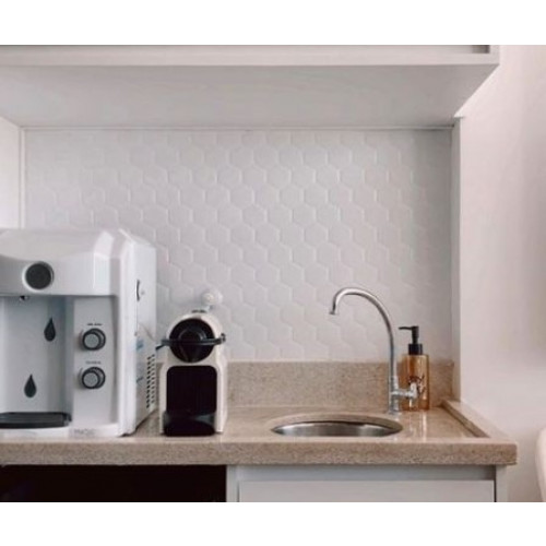 Placa de Pastilha Adesiva Resinada Hexagonal Branco - 30cm x 30cm