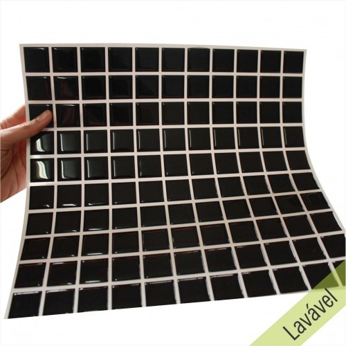 Placa de Pastilha Adesiva Resinada Preta - 28,5cm x 31cm