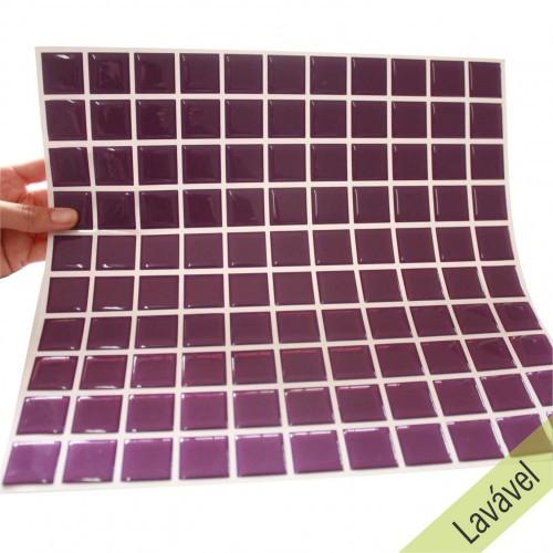 Placa de Pastilha Adesiva Resinada Violeta - 28,5cm x 31cm
