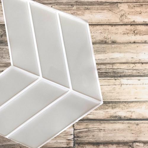 Placa de Pastilha Adesiva Resinada Wave Cinza Claro - 30cm x 30cm