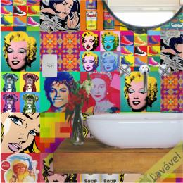 Papel de Parede Pop Art em Rolo COM laminação Protetora
