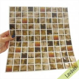 Placa de Pastilha Adesiva Resinada Castanho Rajado - 28,5cm x 31cm