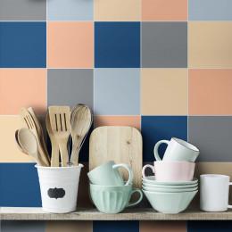 Adesivo Azulejo Color Block Azul/Pêssego