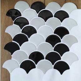 Placa de Pastilha Adesiva Resinada Escama Preto e Cinza Rejunte Branco - 28,5cm x 28,5cm