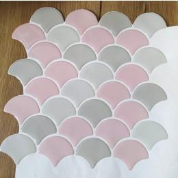Placa de Pastilha Adesiva Resinada Escama Cinza e Rosa Rejunte Branco - 28,5cm x 28,5cm
