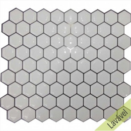 Placa de Pastilha Adesiva Resinada Hexagonal Mini White Rejunte Preto  - 24,5cm x 29cm