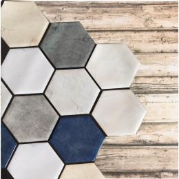 Placa de Pastilha Adesiva Resinada Hexagonal Max Mármore Inverno - 30cm x 30cm