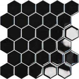 Placa de Pastilha Adesiva Resinada Hexagonal Preto - 30cm x 30cm