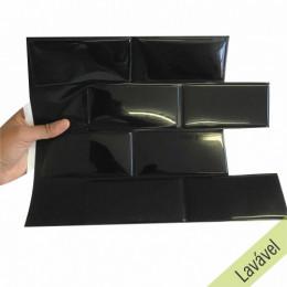 Placa de Pastilha Adesiva Resinada Metrô Black Rejunte Preto  - 26cm x 32,5cm