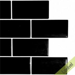 Placa de Pastilha Adesiva Resinada Metrô Black Rejunte Branco  - 26cm x 32,5cm