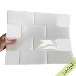 Placa de Pastilha Adesiva Resinada Metrô White Rejunte Branco  - 26cm x 32,5cm