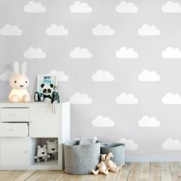 Papel de Parede Infantil Nuvens Fundo Cinza