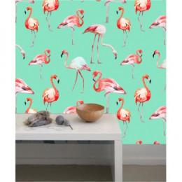 Papel de Parede Flamingo Fundo Turquesa