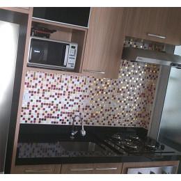 Placa de Pastilha Adesiva Resinada Ouro, Bordô e Bege - 28,5cm x 31cm