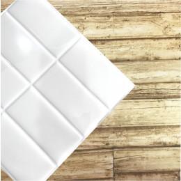 Placa de Pastilha Adesiva Resinada Linear Branco Rejunte Branco