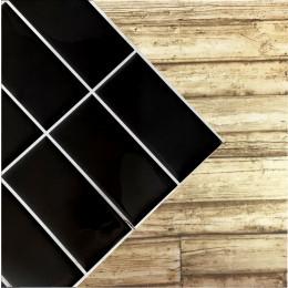Placa de Pastilha Adesiva Resinada Linear Preto Rejunte Branco