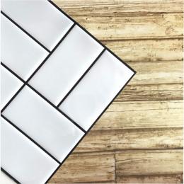 Placa de Pastilha Adesiva Resinada Patch Branco com Rejunte Preto