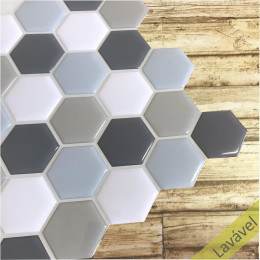 Placa de Pastilha Adesiva Resinada Hexagonal Fendi Rejunte Cinza 29cm x 29cm