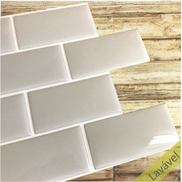 Placa de Pastilha Adesiva Resinada Metrô Gray Rejunte Branco  - 26cm x 32,5cm
