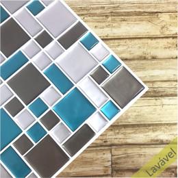 Placa de Pastilha Adesiva Resinada Mosaico Sibéria - 28,5cm x 31cm