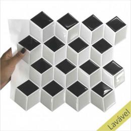 Placa de Pastilha Adesiva Resinada Cubo Rejunte Branco 26 cm x 33cm