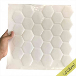Placa de Pastilha Adesiva Resinada Hexagonal Branco Rejunte Branco - 28,5cm x 31cm